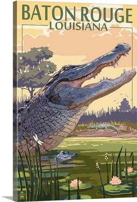 Baton Rouge, Louisiana - Alligator Scene: Retro Travel Poster