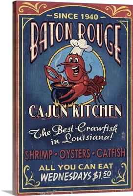 Baton Rouge, Louisiana - Cajun Kitchen Vintage Sign: Retro Travel Poster