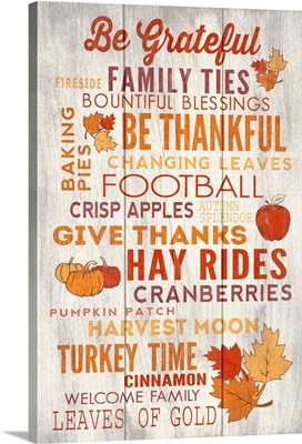 Be Grateful, Thanksgiving Typography