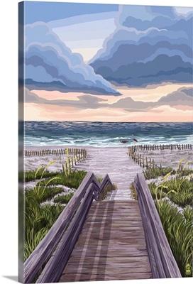 Beach Boardwalk Scene: Retro Poster Art