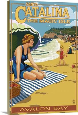 Beach Scene, Avalon Bay, Catalina Island, California