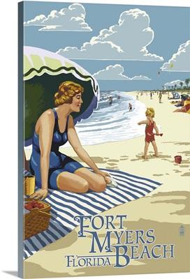 Beach Scene - Fort Myers Beach,  Florida: Retro Travel Poster