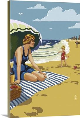 Beach Scene With Woman: Retro Poster Art