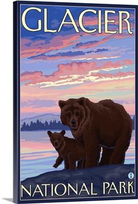 Bear and Cub - Glacier National Park, Montana: Retro Travel Poster