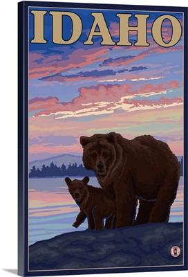 Bear and Cub - Idaho: Retro Travel Poster