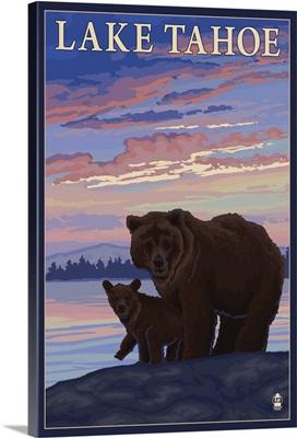 Bear and Cub - Lake Tahoe, California: Retro Travel Poster