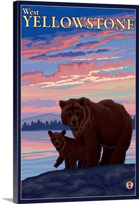 Bear and Cub - West Yellowstone, Montana: Retro Travel Poster