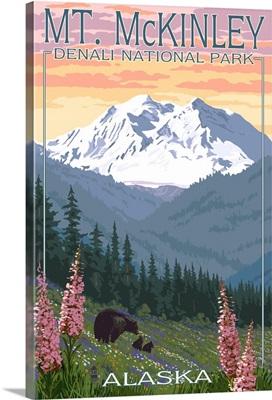 Bear and Cubs Spring Flowers - Mt. McKinley - Denali, Alaska -  : Retro Travel Poster