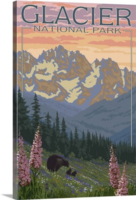 Bear and Cubs with Flowers - Glacier National Park, Montana: Retro Travel Poster
