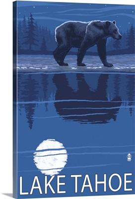 Bear at Night - Lake Tahoe, California: Retro Travel Poster