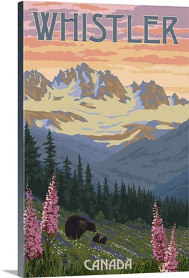 Bear Family and Spring Flowers - Whistler, Canada: Retro Travel Poster