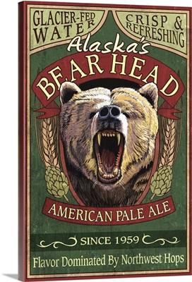 Bear Head Pale Ale - Alaska: Retro Travel Poster