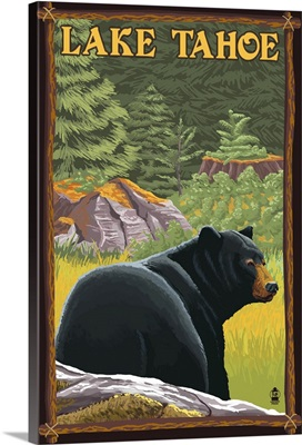 Bear in Forest - Lake Tahoe, California: Retro Travel Poster