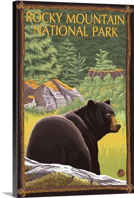 Bear in Forest - Rocky Mountain National Park: Retro Travel Poster