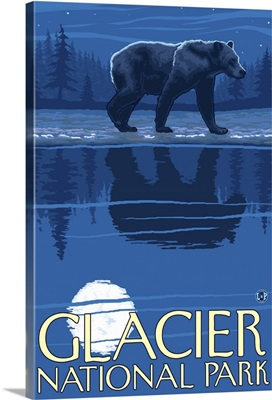 Bear in Moonlight - Glacier National Park, Montana: Retro Travel Poster