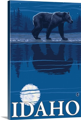 Bear in Moonlight - Idaho: Retro Travel Poster