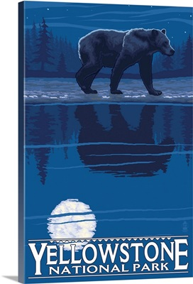 Bear in Moonlight - Yellowstone National Park: Retro Travel Poster