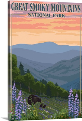 Bears and Spring Flowers - Great Smoky Mountains National Park, TN: Retro Travel Poster