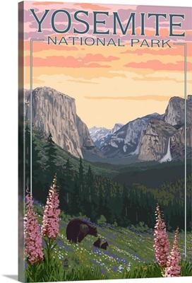 Bears and Spring Flowers - Yosemite National Park, California: Retro Travel Poster