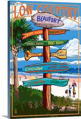 Beaufort, South Carolina - Sign Destinations: Retro Travel Poster