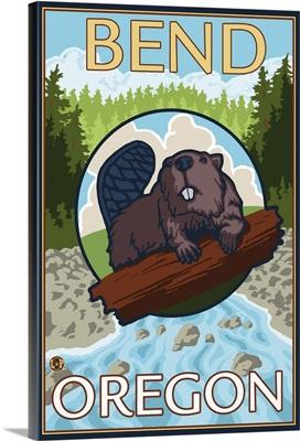 Beaver and River - Bend, Oregon: Retro Travel Poster