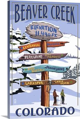 Beaver Creek, Colorado - Ski Signpost: Retro Travel Poster