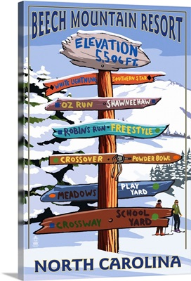 Beech Mountain, North Carolina - Ski Signpost: Retro Travel Poster