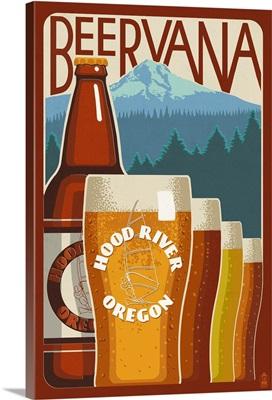 Beervana Vintage Sign - Hood River, Oregon: Retro Travel Poster