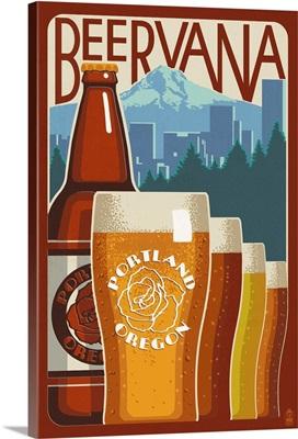 Beervana Vintage Sign - Portland, Oregon: Retro Travel Poster