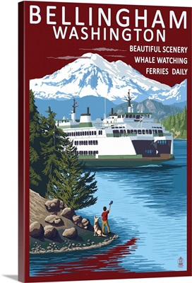 Bellingham, Washington - Ferry Scene: Retro Travel Poster
