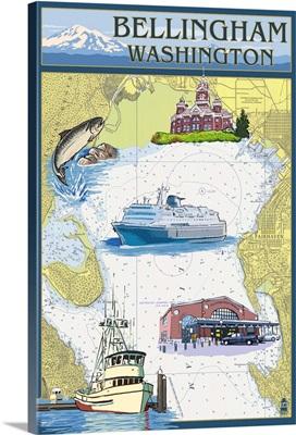 Bellingham, Washington - Nautical Chart: Retro Travel Poster