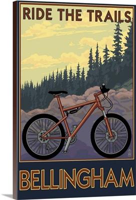 Bellingham, Washington - Ride the Trails: Retro Travel Poster