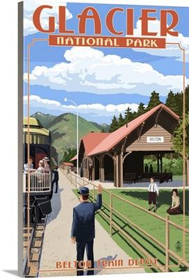 Belton Train Depot - West Glacier, Montana: Retro Travel Poster