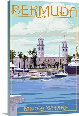 Bermuda - King's Wharf: Retro Travel Poster