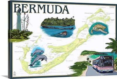 Bermuda - Nautical Chart: Retro Travel Poster