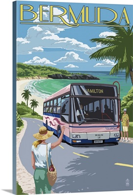 Bermuda, Pink Bus on Coastline