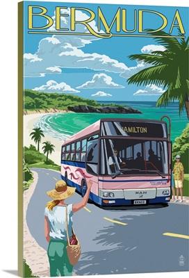 Bermuda - Pink Bus on Coastline: Retro Travel Poster