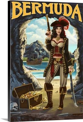 Bermuda - Pirate Pinup Girl: Retro Travel Poster