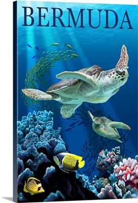 Bermuda - Sea Turtles: Retro Travel Poster