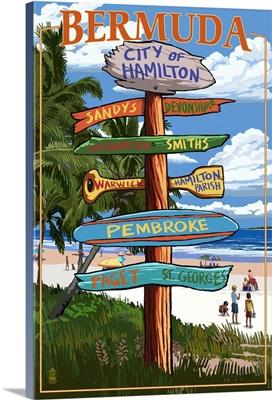 Bermuda - Sign Destinations: Retro Travel Poster