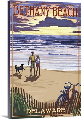 Bethany Beach, Delaware - Beach and Sunset: Retro Travel Poster