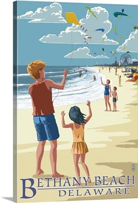 Bethany Beach, Delaware - Kite Flyers: Retro Travel Poster