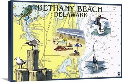 Bethany Beach, Delaware - Nautical Chart: Retro Travel Poster