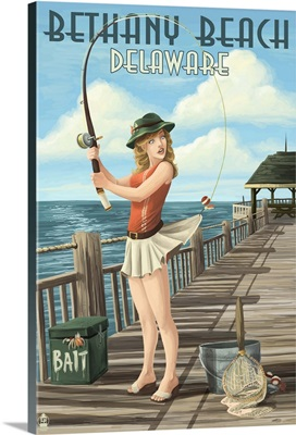 Bethany Beach, Delaware, Pinup Girl Fishing