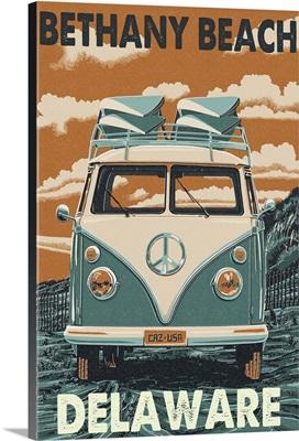 Bethany Beach, Delaware - VW Van Letterpress: Retro Travel Poster