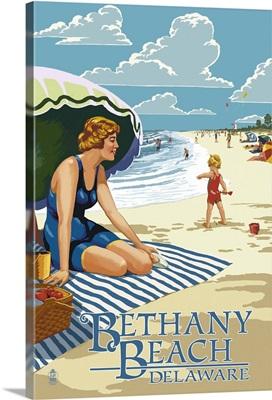 Bethany Beach, Delaware - Woman on Beach: Retro Travel Poster