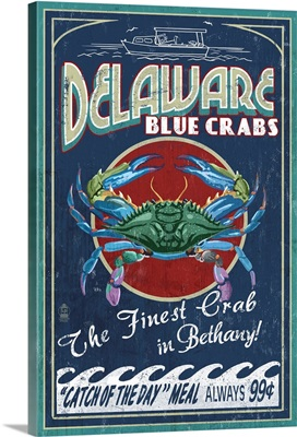 Bethany, Delaware Blue Crabs Vintage Sign: Retro Travel Poster