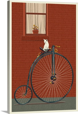 Bicycle - Letterpress: Retro Art Poster
