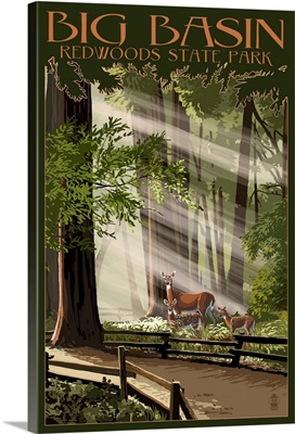 Big Basin Redwoods State Park - Deer and Fawns: Retro Travel Poster