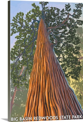 Big Basin Redwoods State Park - Looking up Tree: Retro Travel Poster